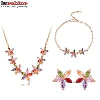 LZESHINE Flower Jewelry Sets Gold Plated With Multicolor AAA Zirconia Earrings Necklace Bracelet Set Parure Bijoux
