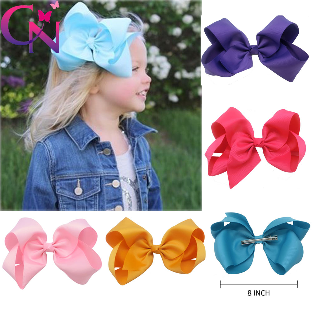 30 Pcs/lot 8 Handmade Solid Large Hair Bow For Girls Kids Grosgrain Ribbon Bow With Clips Boutique Big Hair Accessories