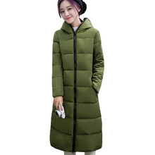 Large Size M-4XL 2016 Winter Women Eyes Hooded Hair Ball Cotton Padded Long Jacket Coat Girl Student Fashion Parka LH363