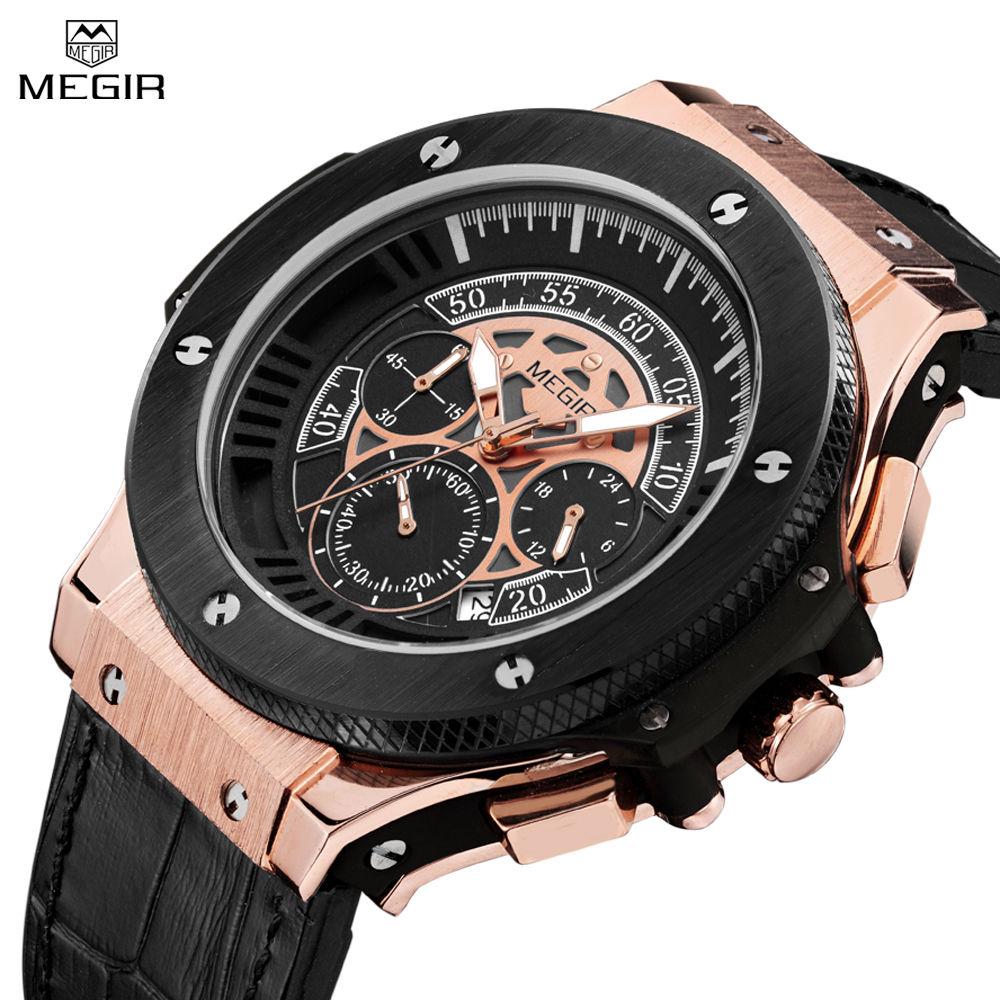 Prix pour Megir hommes de casual montre chronographe et lumineux gravé cadran 24 heures fonction étanche militaire sport montre pour homme mg2035