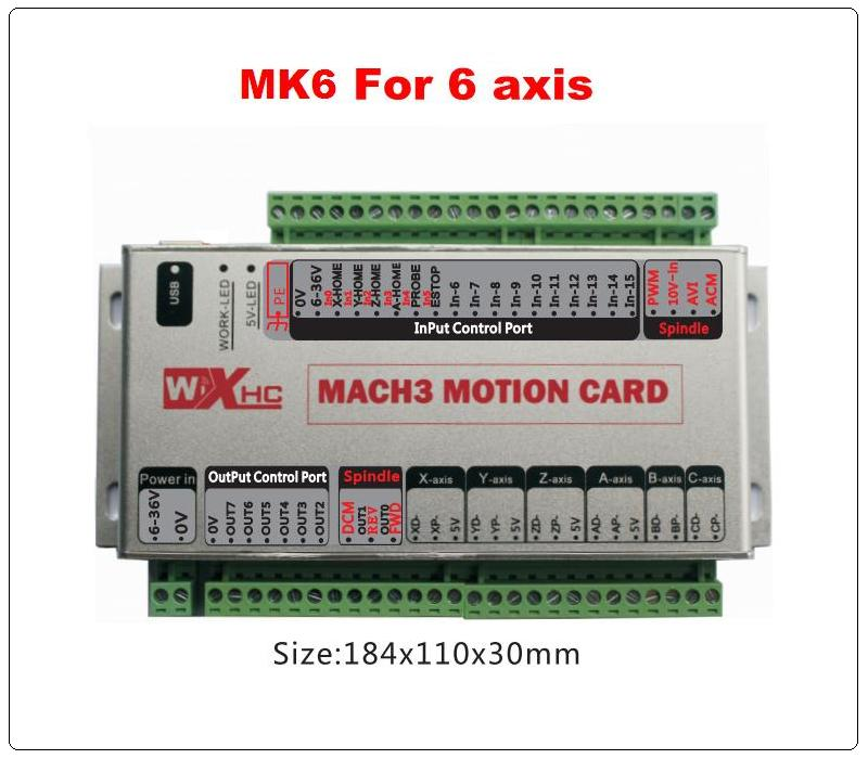 6 axes USB mach3 carte de commande de mouvement quatre axes breakout carte d'interface pour cnc fraisage machine