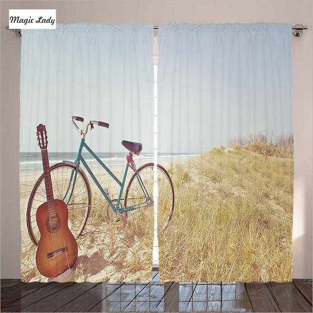Vintage Vorhänge Decor Sammlung Alter Gitarre Bike Strand Urlaub Sommer  Blau Beige Braun Wohnzimmer Vorhänge Vintage