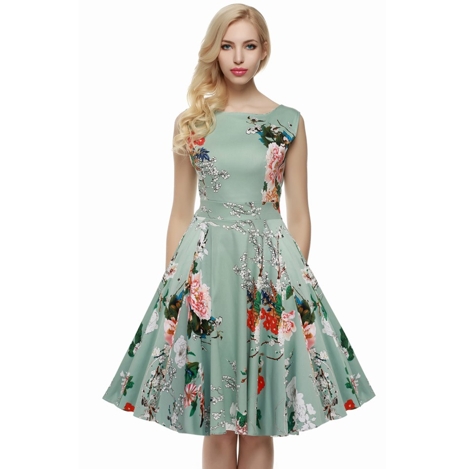 ACEVOG Women Dress Retro Vintage 1950s 60s Rockabilly Floral Swing Summer Dresses Elegant Bow-knot Tunic Vestidos Robe Oversize 9