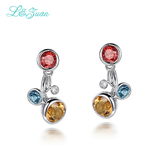 Multicolor Amber Sterling Silver Fashion Charming Stud Earrings TPxv4c2