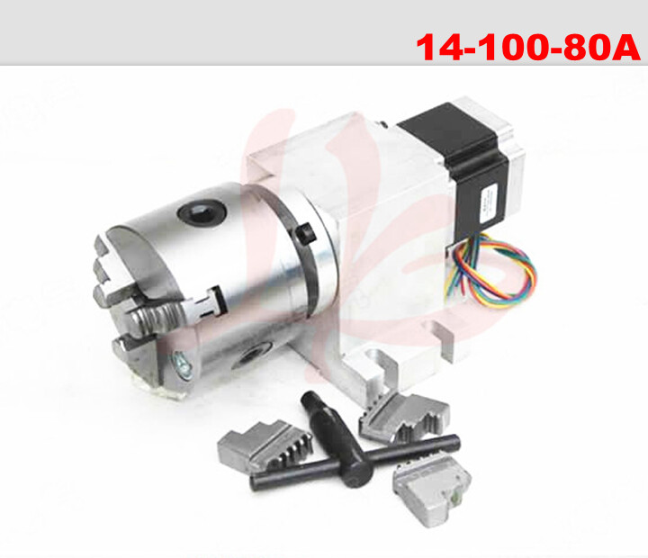 Rotary axis 14-100-80A 80mm 3 jaw chuck harmonic drive reducer for chip repair use