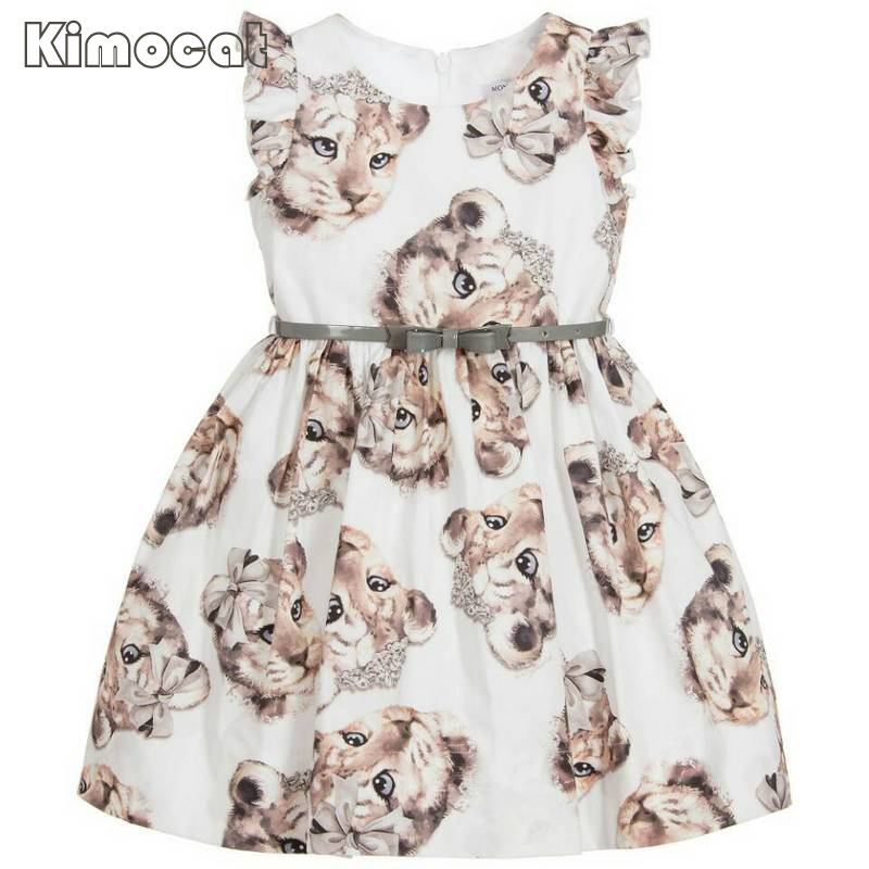 Kimocat Meisjes Kids Kleding 2017 Merk Prinses Jurk Kostuum Kat Print - Kinderkleding