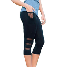 Fitness Women Leggings Sexy Pants Workout Sexy Slim Mesh Sportswear Hips Push Up Elastic Trousers