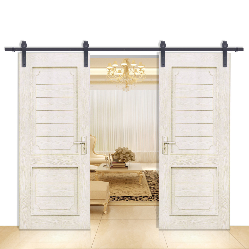 Double sliding barn door hardware rustic black barn for Double sliding doors