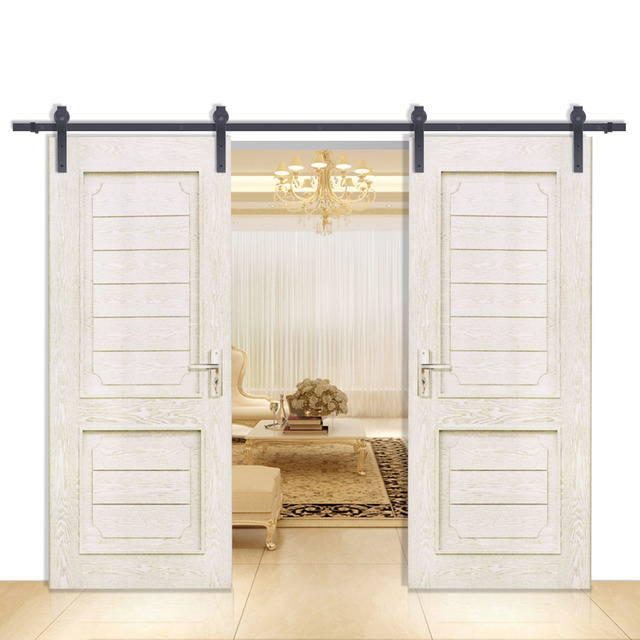 Double Sliding Barn Door Hardware Rustic Black Track Set 12ft