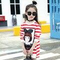 Теплый Сладкий девушки кофты с длинным рукавом девушки пуловер мультфильм печати девушки толстовки полосой детская одежда 2 цвета дети футболки