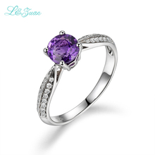 L&Zuan Real 925 Sterling Silver Rings For Women Purple Crystal 100% Natural Amethyst Fashion Accessories Fine Jewelry 2S70