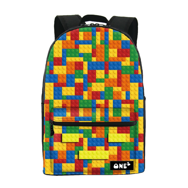 ФОТО 2016 ONE2 Design building block pattern cute travelling backpack for high school girls custom school backpack and laptop bag