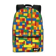 2016 ONE2 Дизайн строительный блок pattern симпатичные путешествия рюкзак для школьниц пользовательские школьный рюкзак и сумка для ноутбука