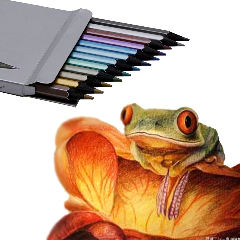 Pro 12 Color Pencils Metallic Colors Non-toxic Drawing Pencils Drawing Sketch Best Hot