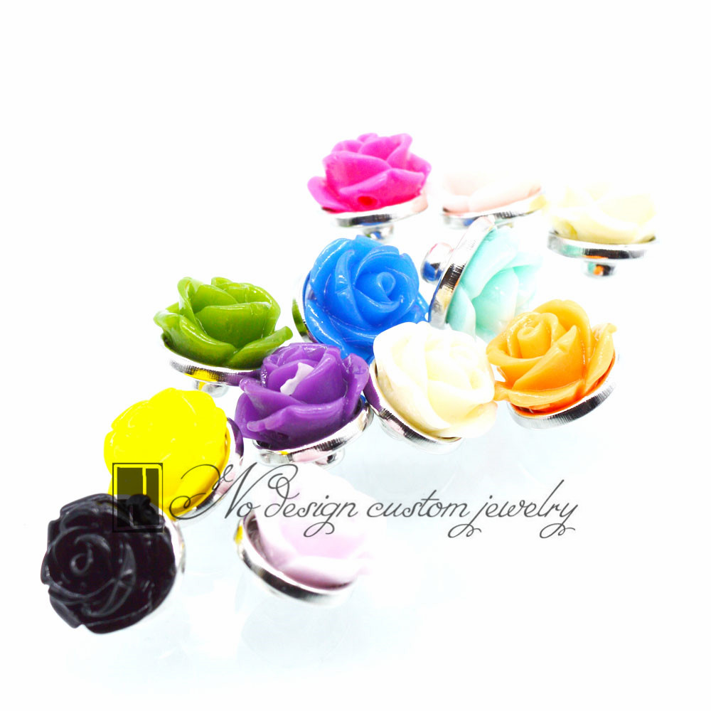 Wholesale Mixed Rose Snaps Snaps Buttons Accessories Mini 12mm Snap Buttons for Bracelet diy Jewelry image