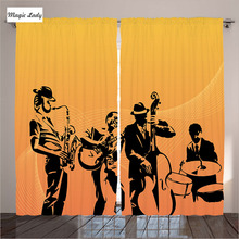 Orange Curtains Living Room Bedroom Silhouette Jazz Quartet Stage Acoustic Passion Old Mustard Black 2 Panels