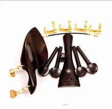 1 Set Brand New Ebony Wood 4/4 Violin Parts Chinrest Golden Hook Clamps Pegs Endpin Golden Tuners Violino Accessories