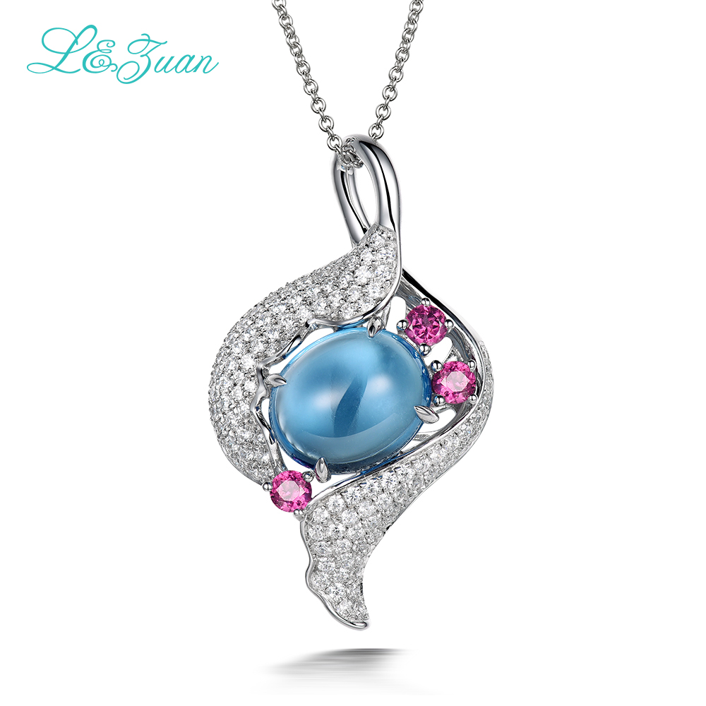 l&zuan Fine jewelry real 925 sterling silver natural 6.18ct topaz blue stone pendant necklace for woman wedding jewelry gift все цены