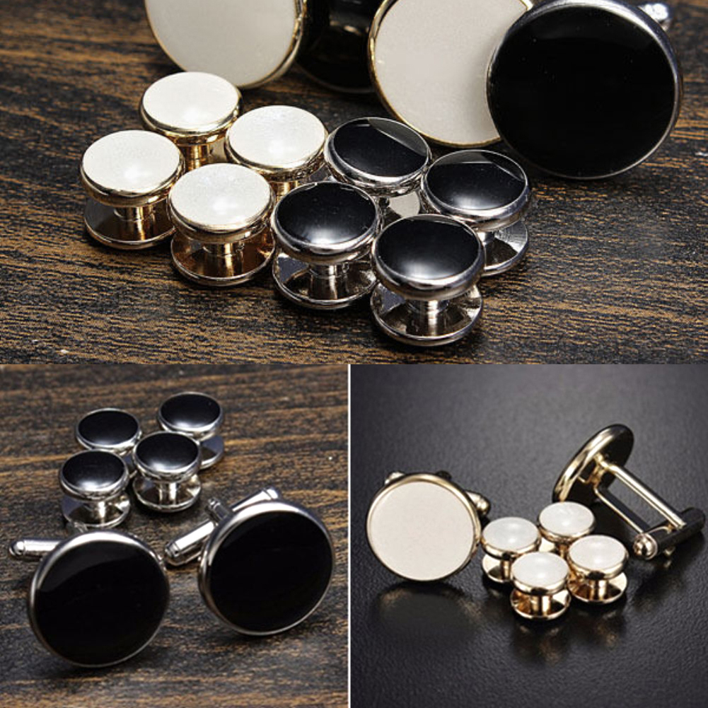 Men's Fashion Tuxedo Cufflinks Formal Costume Shirt Studs Cuff Links 6 Pcs/Set