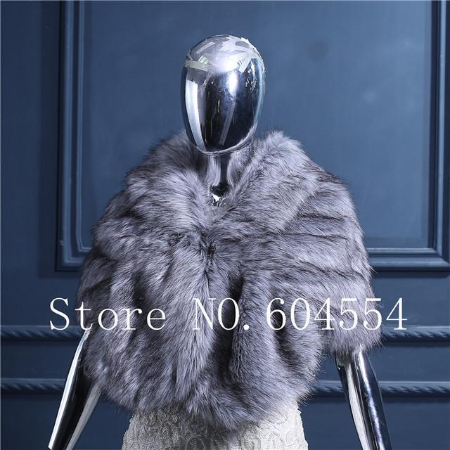 Stock caliente de piel sintética de gris de la boda del Bolero abrigo del mantón de accesorios nupcial del partido del mantón