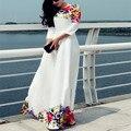 2016 женщины белый с o-образным шея половина рукава длиной до пола мода печатает свободного покроя летние платья роковой оптовая продажа Vestidos