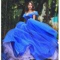 Vestido de Baile vestidos de Baile Sem Alças Fora Do Ombro Sem Encosto Sexy Princesa Cinderela Azul Organza Elegante Longo robe de bal longue