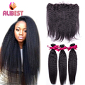 Peruvian 7A ear to ear 13x4 Lace Frontal Closure With 3 Bundles kinky straight weave 4 Pcs/lot Virgin hunman Hair With Closure