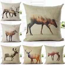 Vintage Sketch animales salvajes naturaleza Ideas fundas cojín ciervos impresión hogar Decoración Camping sala de estar Hotel 45 cm almohada cuadrada los casos