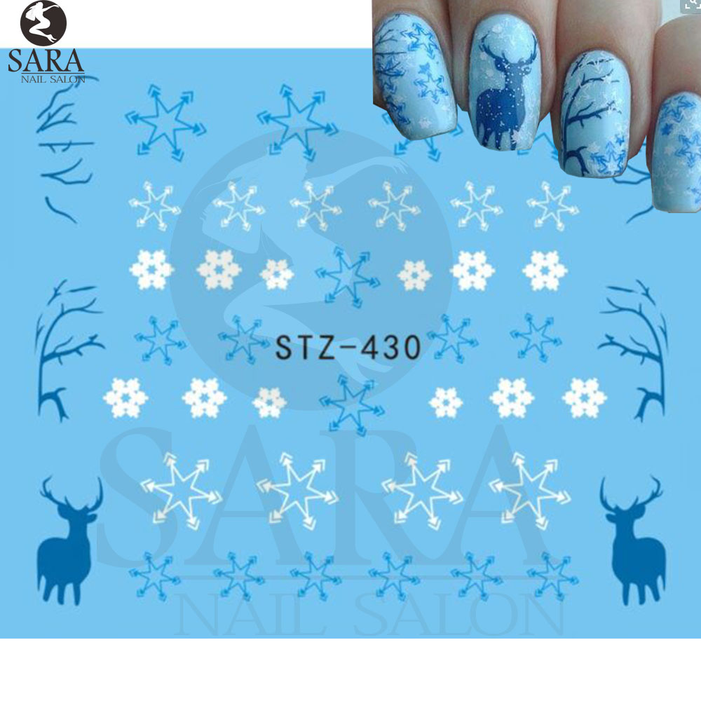 Nail Salon 1Sheet New Christmas Design Water Transfer Nail Art Stickers Wraps Decals DIY Nail Decoration Supplies SASTZ430 1 sheet beautiful nail water transfer stickers flower art decal decoration manicure tip design diy nail art accessories xf1408
