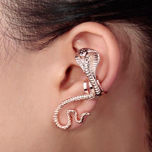Snake Earring Cuff 18k Gold Single Ear Wrap Whole 1 Piece Free Shipping Fashion Animal Stud