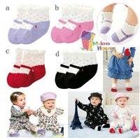 бесплатная доставка оптовая продажа 8 пара/лот малышей девушки прекрасный анти-слип Non-выскальзование хлопок мэри джейн носки 2 размеры 4 пара / комплект