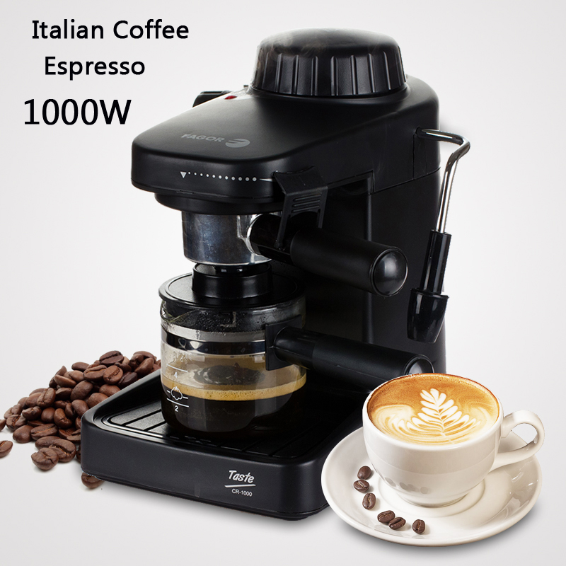 Italian Coffee Machine Espresso maker with handle 1000W Automatic Steam Fancy Coffee Maker Set Milk Foam GR-100 korea brand sn 3035 automatic espresso machine coffee maker with grind bean and froth milk for home
