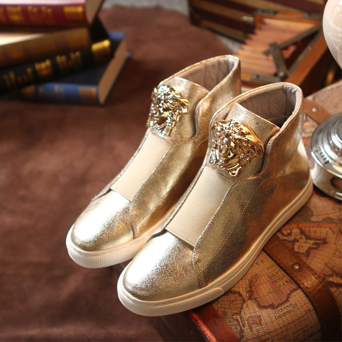 Hot sale New Men Casual Shoes Fashion Metal Sequins Leopard Head Man Flats Shoes Black Silver Gold ankle boots Chaussure Homme цены онлайн