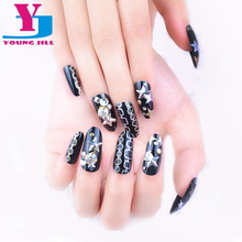 New Fashion 3D Star Decorated Fake Nails Acrylic False Nail Tips With Glue High Quality Gold Glitter Full Cover Artificial Nails