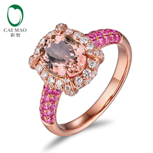 CaiMao 14KT/585 Rose Gold 0.59ct Round Cut Diamond 0.54ct Pink Sapphire 1.79ct Natural Morganite Engagement Ring Jewelry
