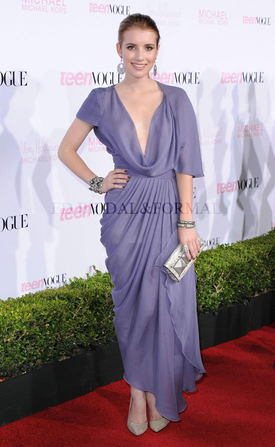 68b9a248f0d3 Emma Roberts Dress at 8th Annual Young Hollywood Party Red Carpet Tea Length  Chiffon Celebrity Evening Gown Cowl Neck Prom Dress
