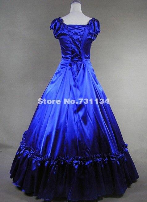 Высокое качество Королевский Синий викторианской платье костюм