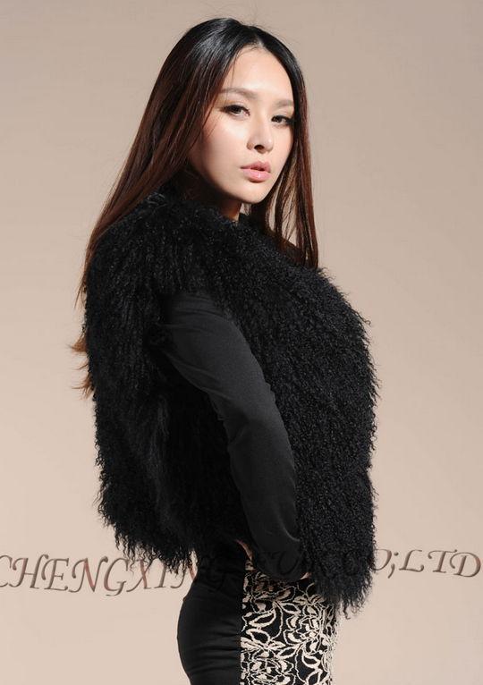 Cx-g-b-51genuine монгольского ягненка овец Мех животных жилет женские пикантные короткие жилет зимнее пальто Меховая куртка