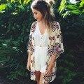Europe and America 2017 New Chiffon Blouse Diamond Pattern Printed Casual Camisas Femininas Blusas Vintage Women Kimono