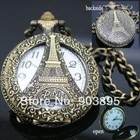 vingtage бронза латунь тонус эйфелева башня брелок карманные часы часы цепи кварцевые часы японии movt