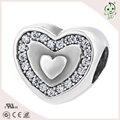 Joyería de plata Real en forma de corazón allanar circón accesorios para la pulsera S925 plata mujeres de encanto
