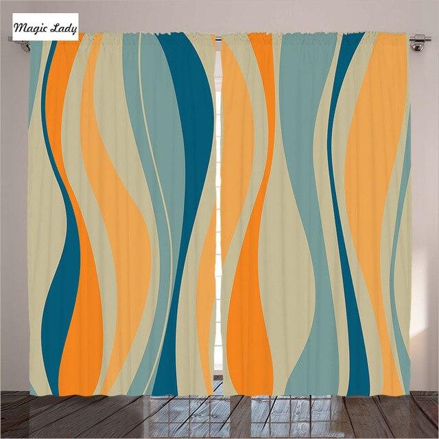 Fesselnd Vorhänge Für Küche Wohnzimmer Schlafzimmer Dekor Vintage Retro Stil  Streifen Orange Blau Abstrakte Vorhänge Für Küche