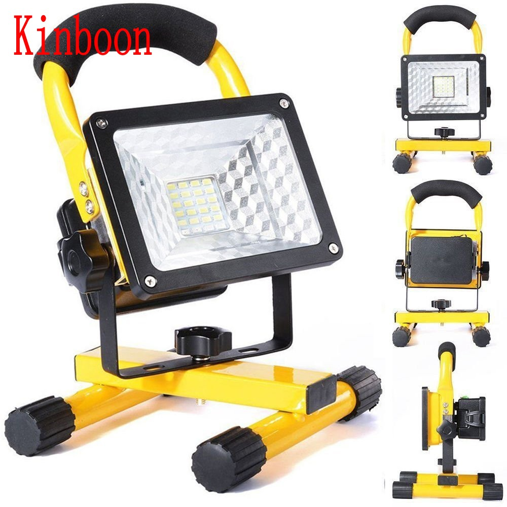 New Portable Spotlight Rechargeable LED Floodlight Movable Outdoor Camping Light 24led With 3*18650 Batteries Power+AC Charger