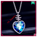 Hot  Sale 3.2x4.8cm blue 925 Sterling silver heart of the ocean  necklace pendant fresh female