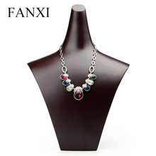 FANXI Resin Neck Frame Display Rack for Jewelry Necklace/Pendant Display Drak Coffee Color in Stock Jewelry Exhibition(China)