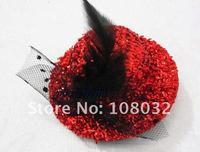 минимальный. заказ $ 15, мода немного блеск шляпа с гренадином бантом и имеет в качестве украшения