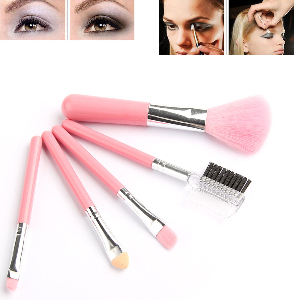 Fashion Mini 5Pcs Pink Makeup Brushes Cosmetics Tools Eyeshadow Eye & Face Lipstick Makeup Brush ...