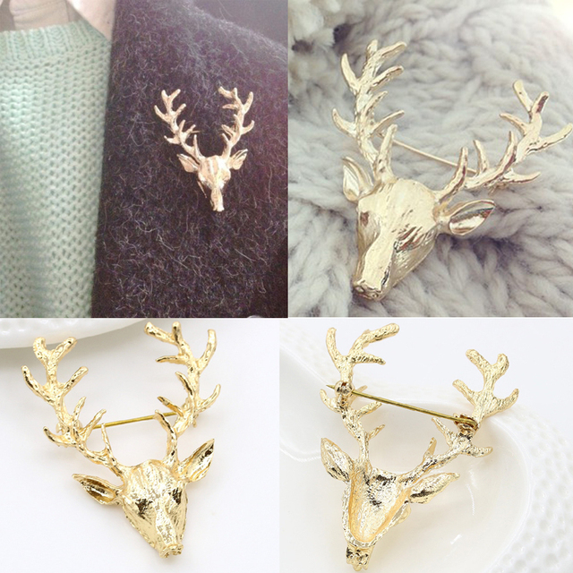 Fashion Vintage Accessories Golden Deer Head Antlers Brooch Pins Men Women Shirt Collar Clips Badge