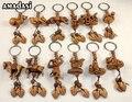 120pcs/lot free shipping solid chinese zodiac wood new style hot sell keychain