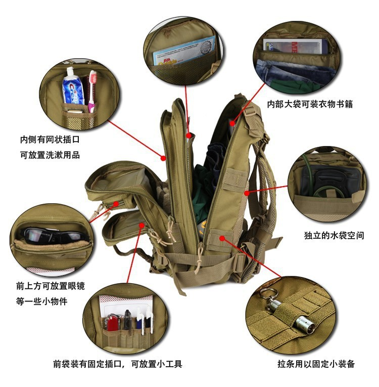 New 24L Outdoor Sports 3P Bag Tactical Military Backpack Molle Rucksacks For Camping Hiking Trekking Wholesale In Backpacks From Luggage Bags On